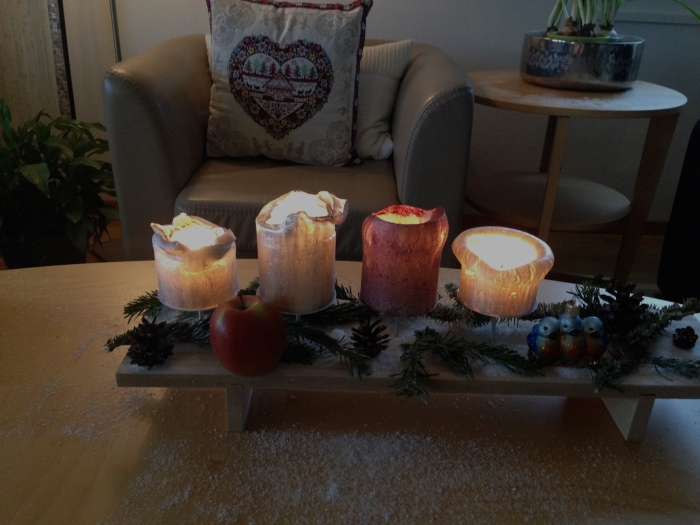 Apple and Advent candles