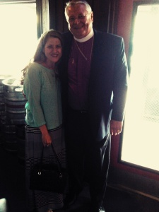 Bishop Paul Lambert and I at Angry Dog (where we unabashedly said grace, by the way).